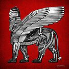 Assyrian Winged Lion - Silver and Black Lamassu over Red Leather by Serge Averbukh