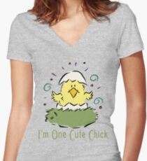 """Easter Chick """"I'm One Cute Chick"""" Women's Fitted V-Neck T-Shirt"""
