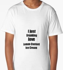 Lemon Custard Ice Cream Lover Gift I Love Dessert Funny Foodie Long T-Shirt