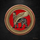 Assyrian Winged Lion - Gold and Black Lamassu on Red and Gold Medallion over Black Leather by Serge Averbukh