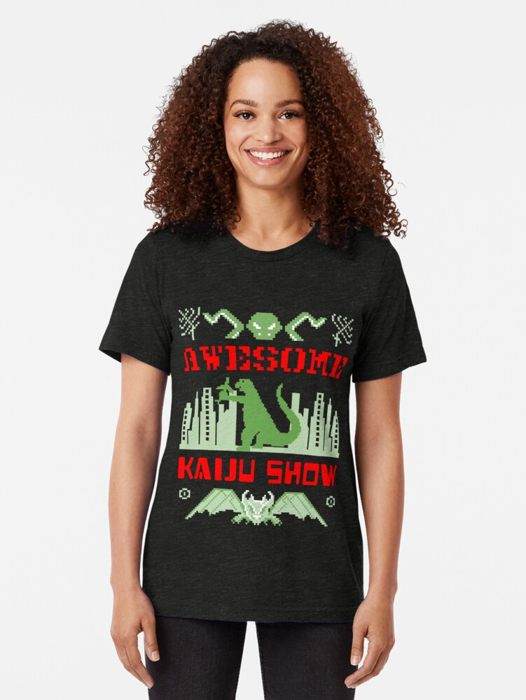 Alternate view of Awesome Kaiju Show Tri-blend T-Shirt