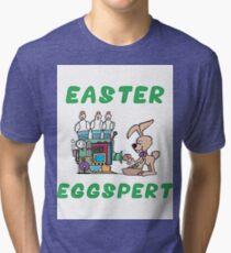 """Happy Easter """"Easter Eggspert"""" Tri-blend T-Shirt"""