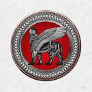 Assyrian Winged Lion - Silver and Black Lamassu on Red and Silver Medallion over White Leather by Serge Averbukh