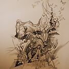 Landscape Study in Pencil.  Rocks and Grasses  by Lozzar Flowers & Art