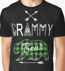 Grammy Bear Green Buffalo Plaid Family Christmas Camping Gift Graphic T-Shirt