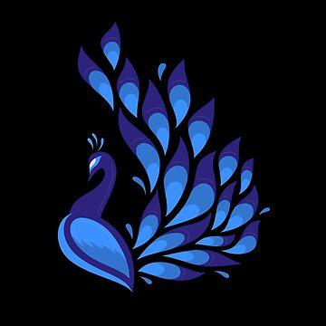 Pretty Peacock Pattern Black Background by CreatedProto