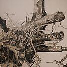 Landscape Study in Pencil.  Chopped Tree by Lozzar Flowers & Art