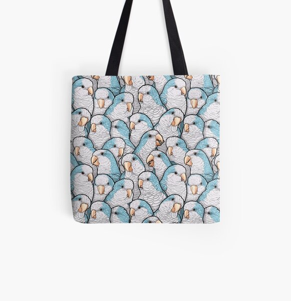 Blue Quaker Parrots All Over Print Tote Bag
