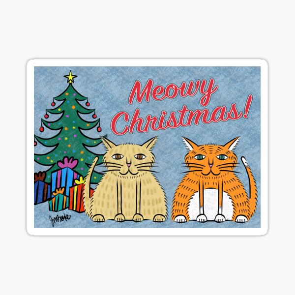 Meowy Christmas with Gifts Sticker