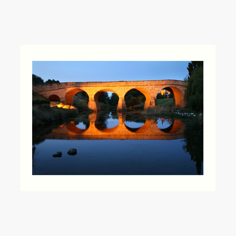 Richmond Bridge Nightime, Tasmania, Australia Art Print