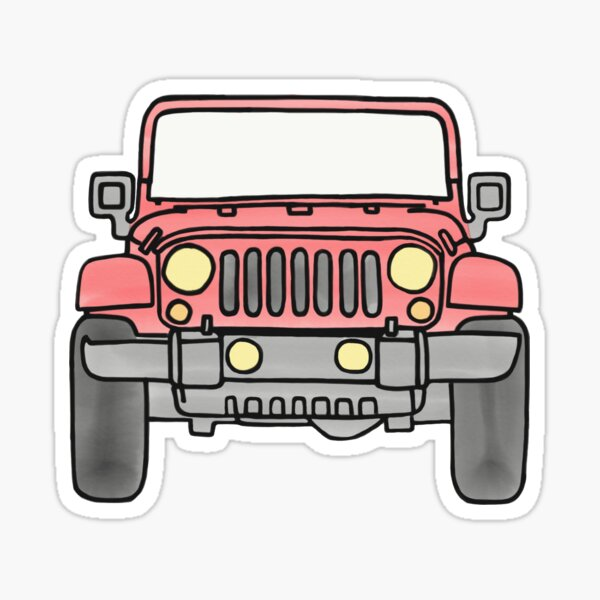 Jeep rojo Pegatina