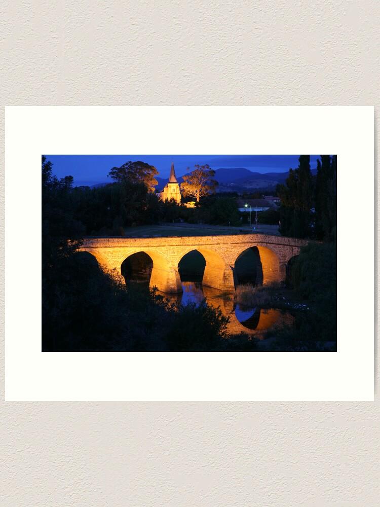 Alternate view of Richmond Bridge and Chruch, Tasmania, Australia Art Print