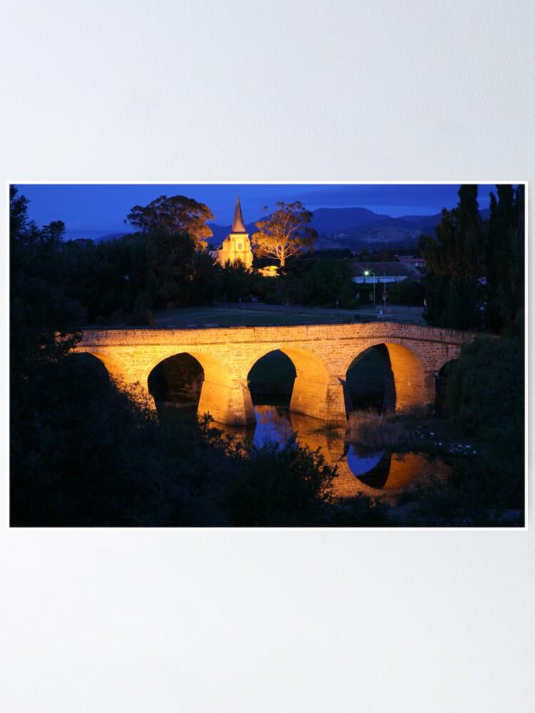 Alternate view of Richmond Bridge and Chruch, Tasmania, Australia Poster