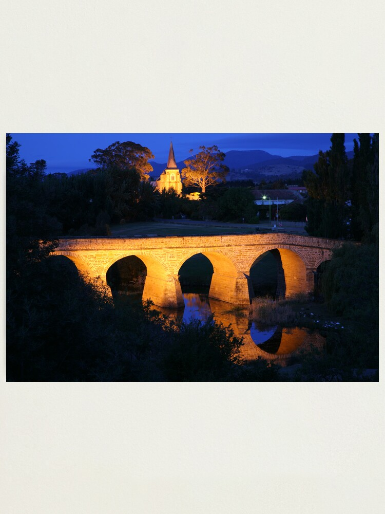 Alternate view of Richmond Bridge and Chruch, Tasmania, Australia Photographic Print