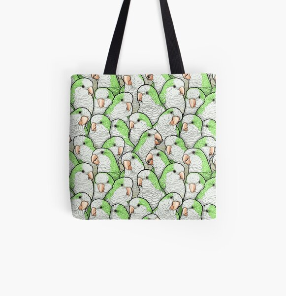 Green Quaker Parrots All Over Print Tote Bag