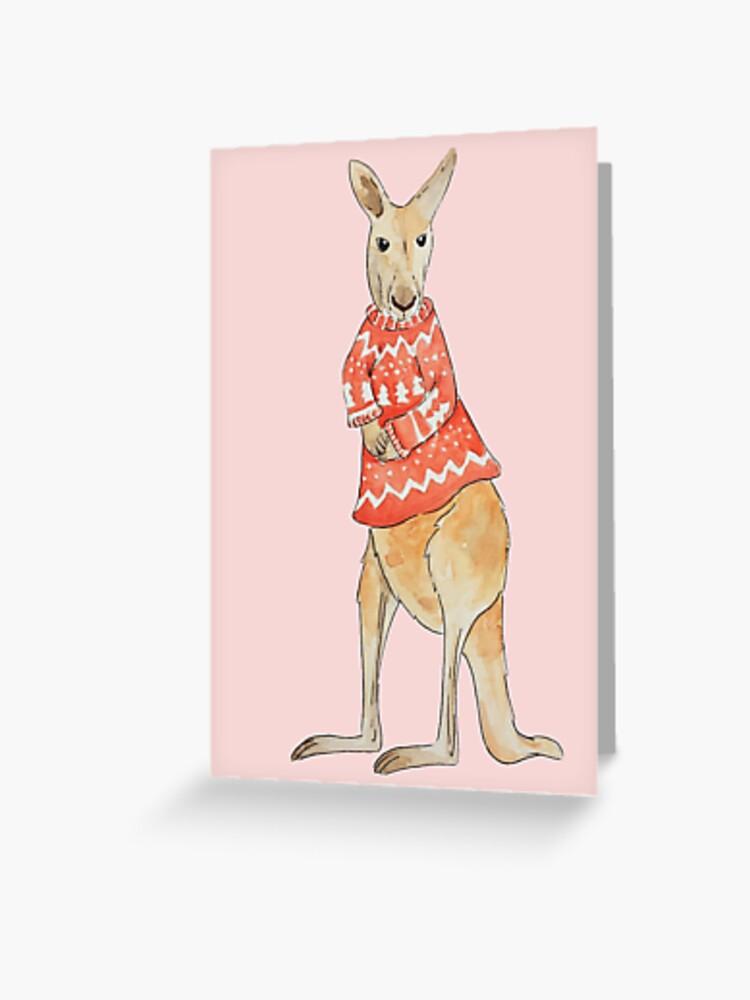 Christmas Kangaroo Cartoon.Christmas Kangaroo Greeting Card