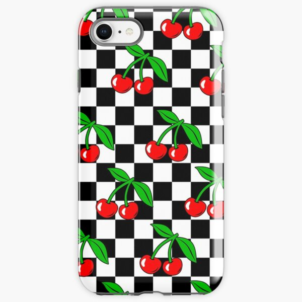 Cherry Chessboard Checkered Black and White Pattern / Cherry Chess Checkerboard Rockabilly iPhone Tough Case