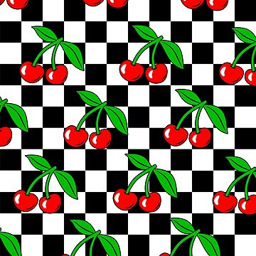Cherry Chessboard Checkered Black and White Pattern / Cherry Chess Checkerboard Rockabilly by fabianb