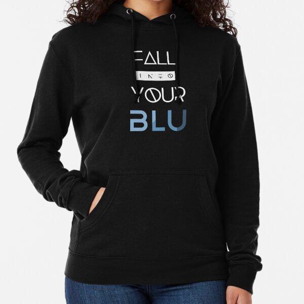 BLU White Text Lightweight Hoodie