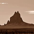 Shiprock From the West in Sepia by Debby Pueschel