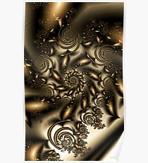 Gold Spiral  Roses Poster