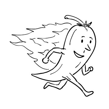 Chilli Pepper on Fire Running Drawing Black and White  by patrimonio