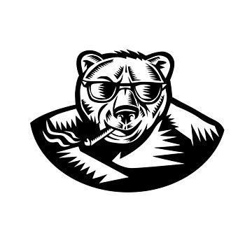 Bear Smoking Cigar Woodcut by patrimonio
