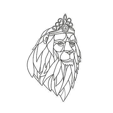 Lion Princess Wearing Tiara Mosaic Black and White by patrimonio