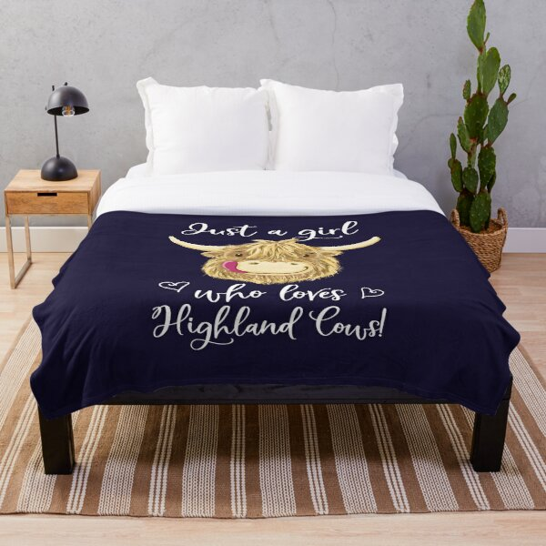 Just A Girl Who Loves Scottish Highland Cows Throw Blanket