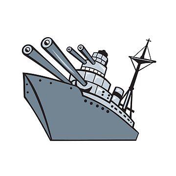 Cartoon Battleship With Big Guns by patrimonio