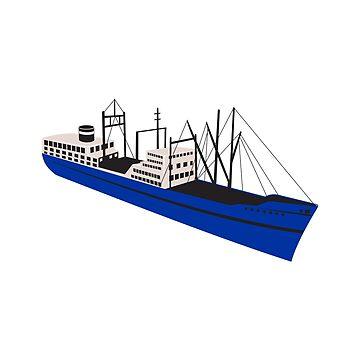 Vintage Cargo Ship Retro by patrimonio