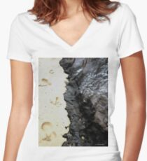 The Yin Yang of Coal Mine Beach Women's Fitted V-Neck T-Shirt