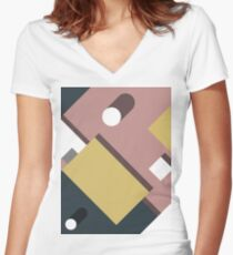Color Blocks Shadow Women's Fitted V-Neck T-Shirt