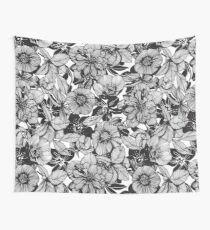 Hellebore lineart florals Wall Tapestry