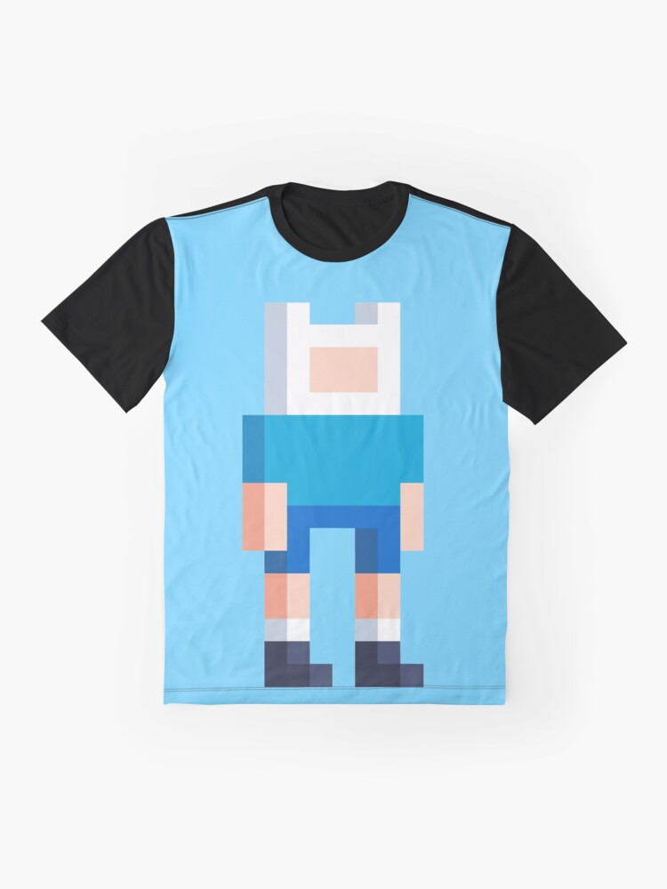 Alternate view of Adventure Time Finn Voxel Style Graphic T-Shirt