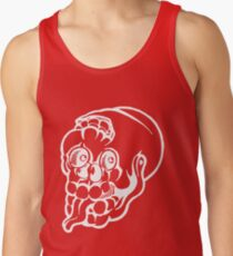 Black and white cracked skull with braindamage and has its tongue out inversed Tank Top