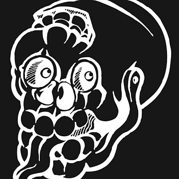 Black and white cracked skull with braindamage and has its tongue out inversed by markdalderup