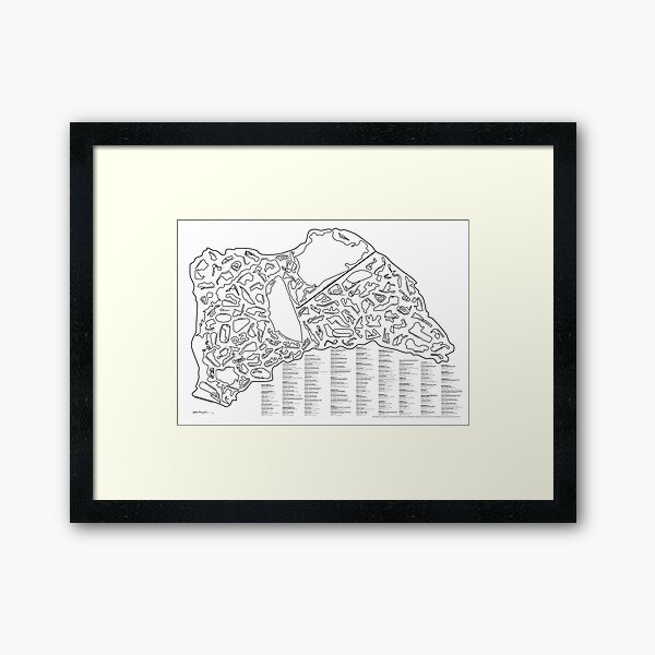 Race Tracks to Scale - Listed and Labelled Framed Art Print