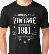 879acc026b Original Parts Vintage Established 1981 Perfectly Aged Unisex T-Shirt