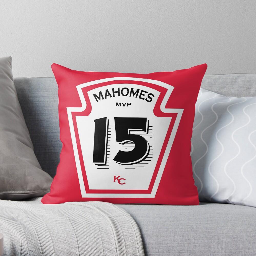Patrick Mahomes Ketchup Bottle Throw Pillow