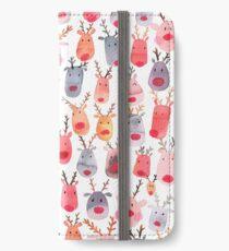Reindeers - Animal cuteness - Winter watercolor pattern - Rudolph iPhone Wallet/Case/Skin