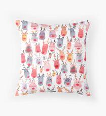 Reindeers - Animal cuteness - Winter watercolor pattern - Rudolph Throw Pillow