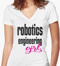Robotics Engineering Girl Women's Fitted V-Neck T-Shirt