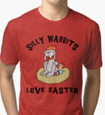 """Funny Easter Bunny """"Silly Wabbits Love Easter"""" Tri-blend T-Shirt"""