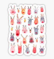 Reindeers - Animal cuteness - Winter watercolor pattern - Rudolph Sticker