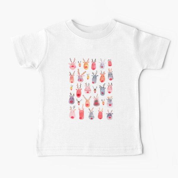 Reindeers - Animal cuteness - Winter watercolor pattern - Rudolph Baby T-Shirt