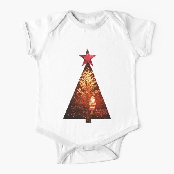 Santa Hides In Christmas Tree Short Sleeve Baby One-Piece