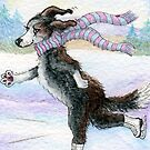 Ice-Skating Border Collie Dog by SusanAlisonArt