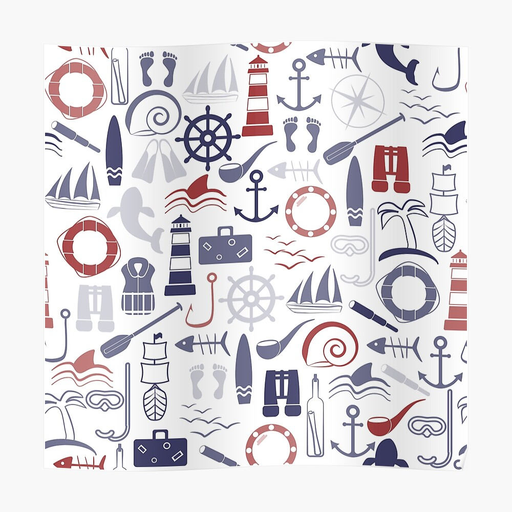 Trendy Maritime Pattern Poster