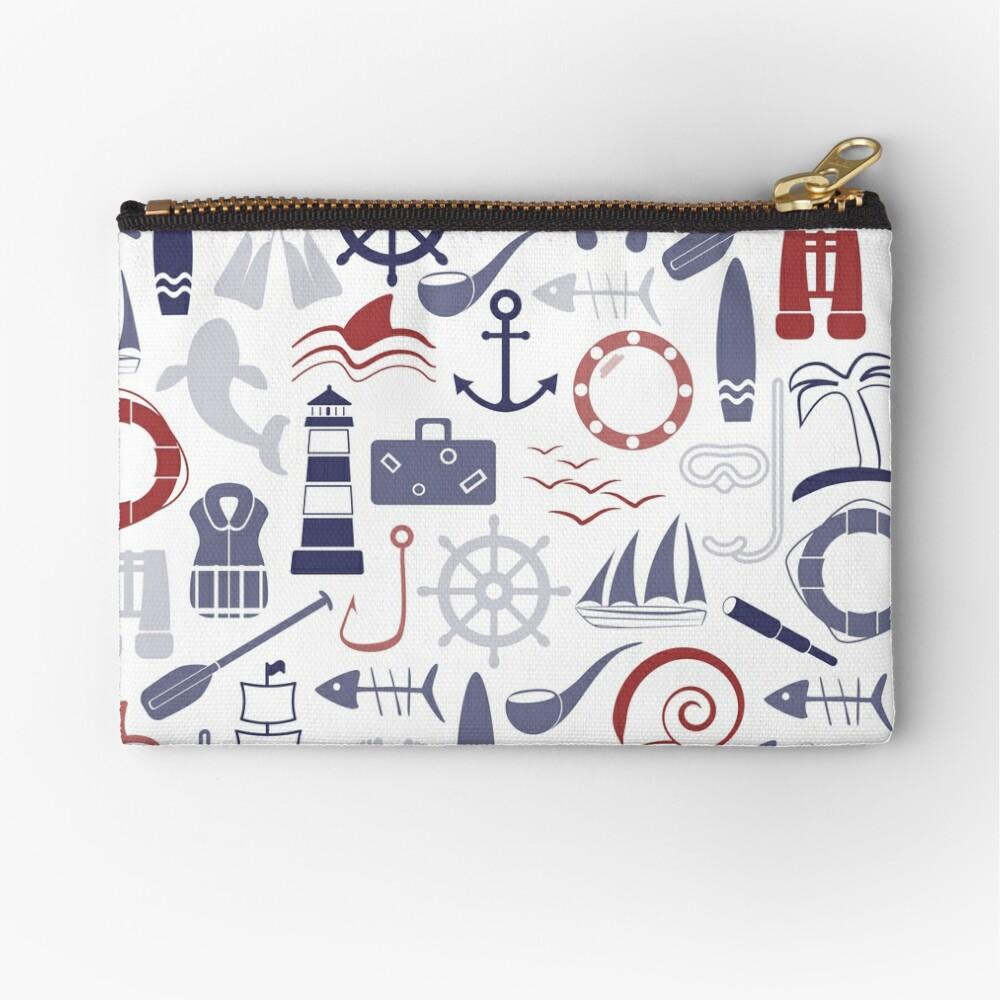 Trendy Maritime Pattern Zipper Pouch